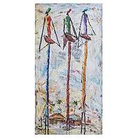 'A Place I Belong' - Signed Expressionist Painting of Three Women