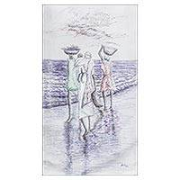 'Women and Fishes' - Signed Impressionist Painting of Fish Sellers from Ghana