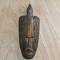 African wood mask, 'Bird of Honor' - Hand Carved West African Wood Wall Mask with Bird Motif
