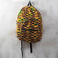 Cotton backpack, 'Kente Lines' - Kente-Inspired Cotton Backpack with Adjustable Straps