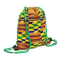 Cotton backpack, 'Kente Patches' - Kente-Inspired Cotton Print Drawstring Backpack with Pocket