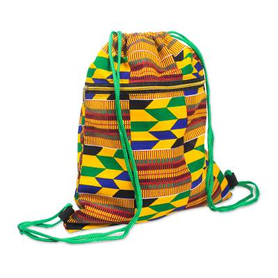 Kente-Inspired Cotton Print Drawstring Backpack with Pocket