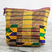 Cotton cosmetic bag, 'Kente Sunshine' - Kente-Inspired Yellow Geometric Cotton Cosmetic Bag