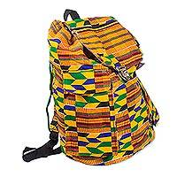 Cotton backpack, 'Kente Journey' - Kente Print Cotton Backpack from Ghana