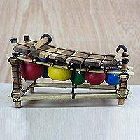 Ebony wood xylophone, 'Colorful Melody' - Handmade Ebony Wood Xylophone from Ghana