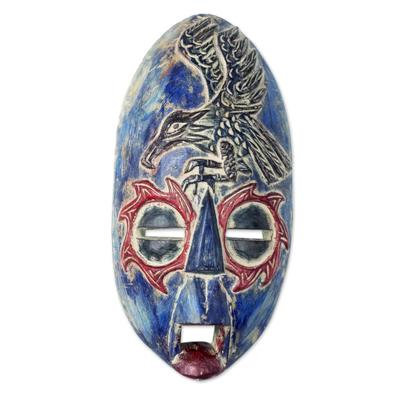 Bird Motif African Sese Wood Mask from Ghana