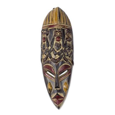 Monkey Motif African Sese Wood Mask from Ghana
