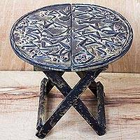 Wood folding table, 'Dance Party' - Dance-Themed Sese Wood Folding Table from Ghana