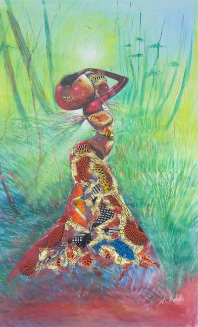 Signed Expressionist Painting Of An African Woman From Ghana The