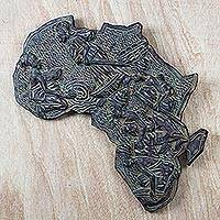 Wood relief panel, 'A Day in a Village' - Handcrafted Africa Shaped Wood Relief Panel of Village Life
