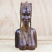 Wood sculpture, 'Plaited Hair'