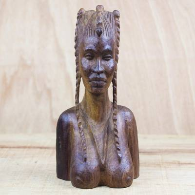 Wood sculpture, 'Plaited Hair' - Mahogany Wood Bust Sculpture of a Woman with Braided Hair