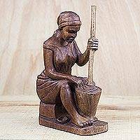 Wood sculpture, 'Pounding Fufu' - Mahogany Wood Sculpture of a Woman Pounding Fufu