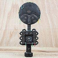 Wood sculpture, 'Antiqued Akuaba in Black' - Wood Fertility Doll Sculpture in Black from Ghana
