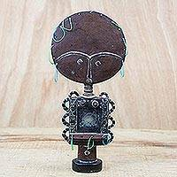 Wood sculpture, 'Antiqued Akuaba in Brown' - Wood Fertility Doll Sculpture in Brown from Ghana
