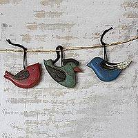 Wood ornaments, 'Colorful Ntakraboa' (set of 3) - Handmade Wood Bird Ornaments from Ghana (Set of 3)