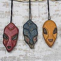 Wood ornaments, 'Mblo Masks' (set of 3) - Wood African Mask Ornaments from Ghana (Set of 3)