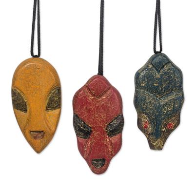Wood ornaments, 'Mblo Masks' (set of 3) - Wood African Mask Ornaments from Ghana (Set of 3)