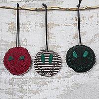 Cotton ornaments, 'Teke Masks' (set of 3) - Cotton and Wood Mask-Themed Ornaments (Set of 3)