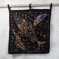 Batik cotton wall hanging, 'Fish for Supper' - Batik Cotton Wall Hanging of Orange Fish from Ghana