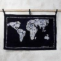 Batik cotton wall hanging, 'World Map' - Batik Cotton World Map Wall Hanging from Ghana