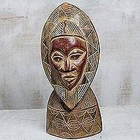 African wood mask, 'Wreathed Face' - Rustic Tabletop African Wood Mask from Ghana