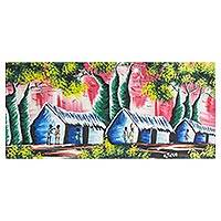 'Village Scene' - Signed Expressionist Village Scene Painting from Ghana