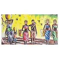 'Daily Activities in Africa' - Signed Expressionist Painting of African Women from Ghana