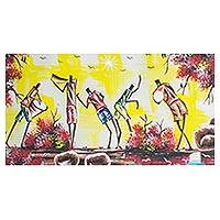 'African Tune' - Signed Expressionist Painting of Musicians from Ghana