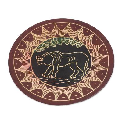 Hand-Carved Round Roaring Lion Sese Wood Decorative Plate