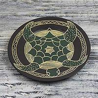 Wood decorative plate, 'Swimming Turtle' - Hand-Carved Round Swimming Turtle Sese Wood Decorative Plate