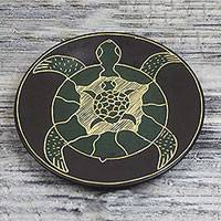 Wood decorative plate, 'Turtle Family' - Hand-Carved Sea Turtle Family Sese Wood Decorative Plate