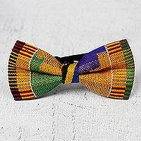 Cotton kente bow tie, 'Akan Delight' - Colorful Cotton Kente Cloth Bow Tie from Ghana