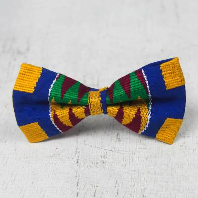 Cotton kente bow tie, 'Egyptian Maiden' - Handmade Cotton Kente Cloth Bow Tie from Ghana