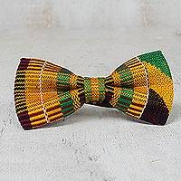 Cotton kente bow tie, 'Above All Design' - Handwoven Cotton Kente Cloth Bow Tie from Ghana