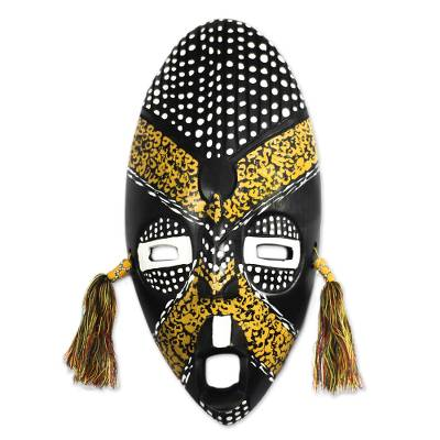Black and Yellow African Wood Mask from Ghana