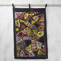 Batik cotton wall hanging, 'Cry of an Orphan' - Abstract Signed Batik Cotton Wall Hanging from Ghana