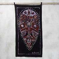 Batik cotton wall hanging, 'Cultural Mask' - Batik Cotton Wall Hanging of a Cultural Mask from Ghana