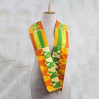 Rayon and cotton blend scarf, 'Kente Royalty' (4.5 inch) - Rayon and Cotton Blend Kente Scarf in Orange (4.5 in.)