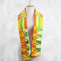 Rayon and cotton blend scarf, 'Kente Royalty' (9 inch) - Rayon and Cotton Blend Kente Scarf in Orange (9 in.)
