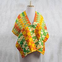Rayon and cotton blend shawl, 'Kente Royalty' (13.5 inch) - Rayon and Cotton Blend Kente Shawl in Orange (13.5 in.)