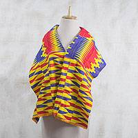 Cotton blend kente cloth scarf, 'Obaapa' (14 inch width) - Red Blue and Yellow Cotton Blend Kente Scarf (14 inch width)