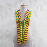 Rayon and cotton blend scarf, 'Kente Princess' (4.5 inch) - Colorful Rayon and Cotton Blend Kente Scarf (4.5 in.)