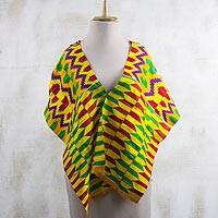 Rayon and cotton blend shawl, 'Kente Princess' (12.5 inch) - Colorful Rayon and Cotton Blend Kente Shawl (12.5 in.)