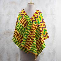 Rayon and cotton blend shawl, 'Kente Princess' (18 inch) - Colorful Rayon and Cotton Blend Kente Shawl (18 in.)