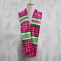 Rayon and cotton blend scarf, 'Kente Desire' (4.5 inch) - Rayon and Cotton Blend Kente Scarf in Cerise (4.5 in.)
