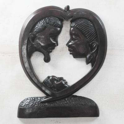 Wood relief panel, 'Family Gathering' - Hand-Carved Mother Father and Child Wood Wall Sculpture