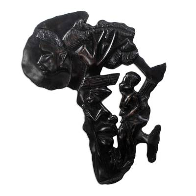 Wood wall sculpture, 'Africa Family Tree ' - Hand-Carved Sese Wood Africa Family Tree Wall Sculpture