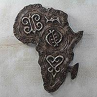 Aluminum and wood relief panel, 'Africa Adinkra' - Adinkra Sese Wood and Aluminum Africa Relief Panel