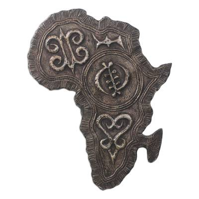 Adinkra Sese Wood and Aluminum Africa Relief Panel